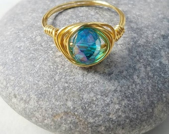 Crystal ring, blue crystal, gold wire wrap, boho ring, bohemian ring, Christmas gift, stocking stuffer, wedding accessories, bridsmaid gift.
