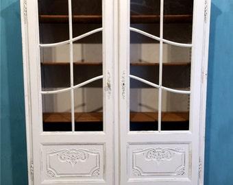 White Painted Ornate Vintage Original Display Cabinet Book Case