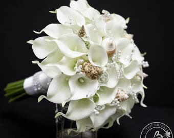 Seashell Bouquet Calla Lily Wedding Real Touch Bridal With Seashells And Pearls