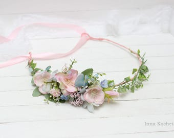 Pink light blue flower crown Floral crown Flower girl crown Wedding hair wreath Flower halo Romantic photoshoot Photoprops Bridal headpiece