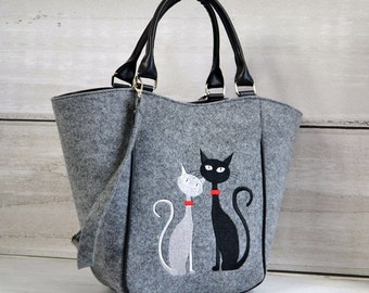 Homemade Women felt bag, Felt tote, Cat bag, Felt shopperbag, Felt handbag, Felt shoulder bag, Cat design bag