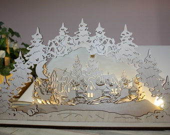Decor Fairy Forest New Year Christmas Tree Wood Gift Santa Deer