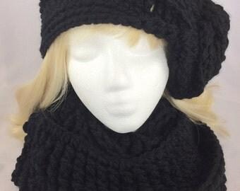Black knit cowl, women crochet cowl, crochet infinity scarf, crochet circle scarf, neck warmer, black scarf, black wrap, black cowl