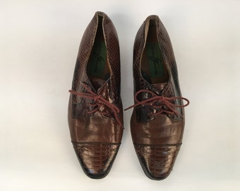 Men's size 8 1/2 brown leather and snakeskin lace up Giorgio Brutini oxfords