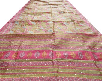 Free Shipping Antique Vintage Sari Art Silk Saree Floral Printed Wrap Fabric Indian Craft Kantha Stitch Clothing Sarong MD448