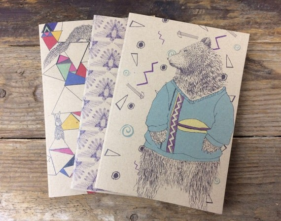 Pack of 3 recycled paper notebooks - A5 original illustrated notepads - lined paper note books.