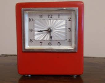 Art Deco - Bauhaus Red Clock HKS With Cashbox, German