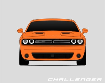 Dodge Challenger Poster // SRT // Hellcat // R/T // SXT // 2015 Challenger // 2016 Challenger // 2017 Challenger