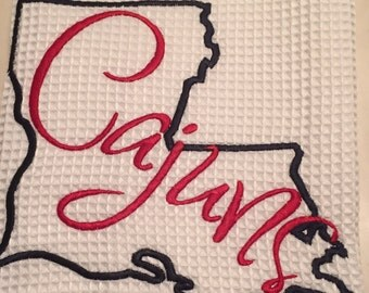 Cajuns Waffle Weave Kitchen Towel-Kitchen Towel-Cajuns- Louisiana-Ragin Cajuns-House Warming Gift-Gift for Her
