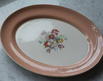 Serving Platter from England (1940's) Pink border with flowers