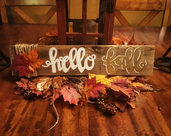 "Wood sign, wall decor, shelf decor, fall decoration ""Hello Fall"" pallet sign"