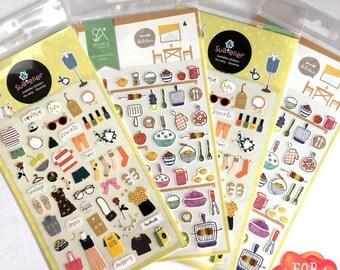 Korea sonia design sticker- clothes (dress, favorite, glasses), kitchen(fish, lemon, bbq)