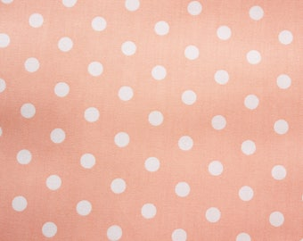 Polka dot Fabric, Cotton Fabric, Peach, Polka Medium Dots, Basic Essential, Quilting Dressmaking Sewing Patchwork Supplies, Wide, Half Metre