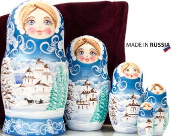 "Russian Nesting Doll - MEDIUM SIZE - 5 dolls in 1 -  ""Winters Tale"" design - Blue Color - Hand Painted in Russia"
