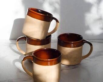 Vintage ceramic mug. Vintage pottery. Brown cups