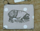 Pig Coin Purse Credit Card pouch pig and spots farmyard animal Key Ring Fully Lined Birthday Gift Ships from UK