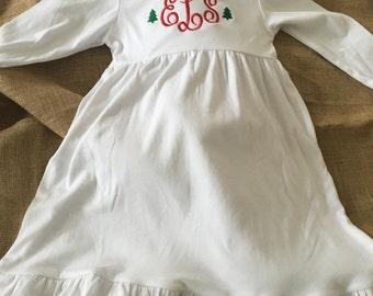 Girls Monogrammed Christmas Dress