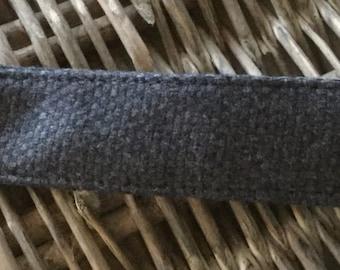 Dark blue wool fabric keyring / keychain / lanyard
