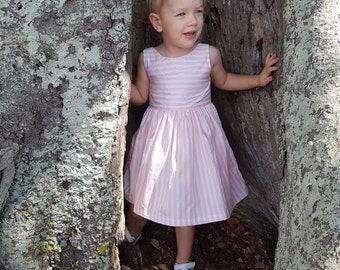 Girls Scoop Back Dress Pink Stripe