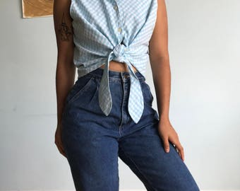 Vintage XL crop gingham baby blue shirt tank top