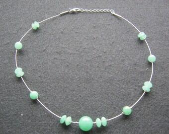 Necklace handmade Aventurine quartz, diameter ca. 15 cm, length ca. 48 cm manufactured 1976 Germany