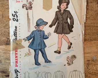 1940s Simplicity #1998 Pattern for Child's Coat, Leggings and Hat Size 4