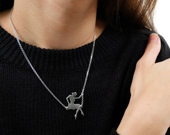 girl on swing necklace, dainty necklace, swinging girl, swing necklace, dainty necklace, girl necklace, delicate necklace, dancing necklace
