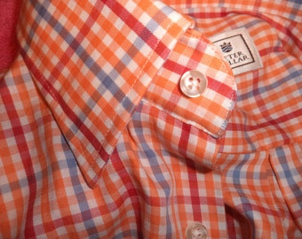 PETER MILLAR Sport Shirt XL Orange Red Blue  White Plaid Check L/S Button Down