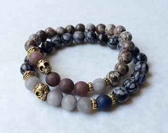 Skull Bracelet w Snowflake Jasper & Grey Jade, unisex gemstone bracelet, gift for him, gift for her, men's skull bracelet, women's bracelet