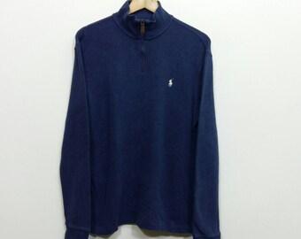 POLO Ralph Lauren Sweatshirt Mens Small Vintage 1990's Ralph Lauren Pony Blue Hip Hop Rap Sportwear Polo Sport Crewneck Sweater Men Size S