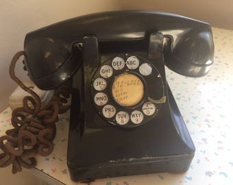 Antique Bell System Black Rotary Telephone - Western Electric Company Vintage Phone
