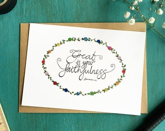 A6 Original Hand-lettered Print - 'Great is your faithfulness' - Lamentations 3:23 - Postcard & Envelope - Bible verse - Inspirational