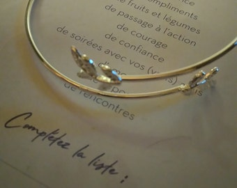 Bracelet silver with two reasons for branch
