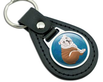 English Bulldog Black Leather Metal Keychain Key Ring