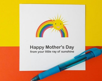 Happy Mother's Day   ray of sunshine   sunshine and rainbows card   thank you card