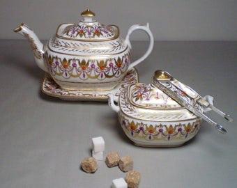 SPODE Tea-Pot-on-Stand c. 1805-1810