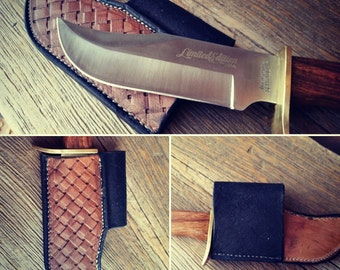 Custom leather knife sheath with basket weave pattern & knife
