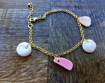 Gold Charm Bracelet with Pink Conch Shell Charms