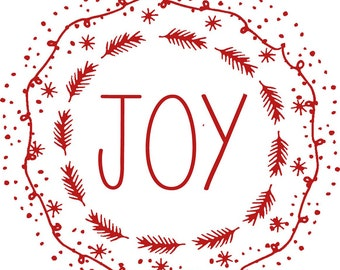 "Digital Download ""JOY"" Christmas Wreath Illustration Transfer Clip Art; 1070"