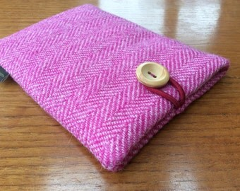 Harris Tweed Kindle paperwhite cover, kindle voyage, Fire 6 HD, Kobo, Nook cover case, pink herringbone