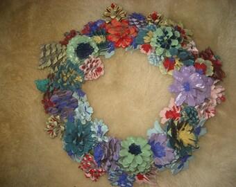 Hand Painted Flowers Pinecones Wreath/Colorful Pinecones Door Decor