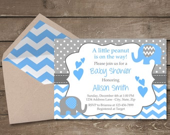 Blue and Grey Elephant Baby Shower Invitation, It's a Boy, Elephant, Chevron, Blue, Little Peanut, Baby Shower Invitation, Boy Baby Shower