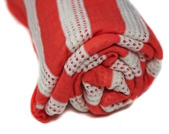 Orange & White Stripe Fabric, 2 Yards Knit Fabric, Retro Fabric, 80's Look Fabric by the Yard, Destash, Mesh Fabric