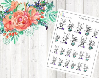 Eddy the Bunny - Homework (Erin Condren and Happy Planner Stickers)