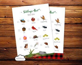 Scavenger Hunt Nature Edition // Lumberjack // Nature Walk Search // Party Game // Outdoors Camping Party // Printable