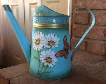watering can hand painted  vintage sister mothers day gift daughter Custom made white daisies Monarch butterflies with aqua blue background