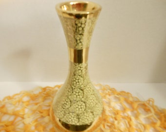 Vintage Hampton China Vase/Yellow and 22 Kt. gold