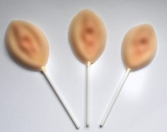 Handmade White Chocolate Vagina Lolly, Stocking Filler For Him Her pussy NSFW Rude gift funny present silly naughty Hen Party, Bachelorette