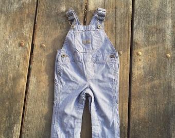 Vintage - Overalls Blue White Pinstripe Pants l Infant Baby Toddler Kids Clothes Wrangler Bibs Boys