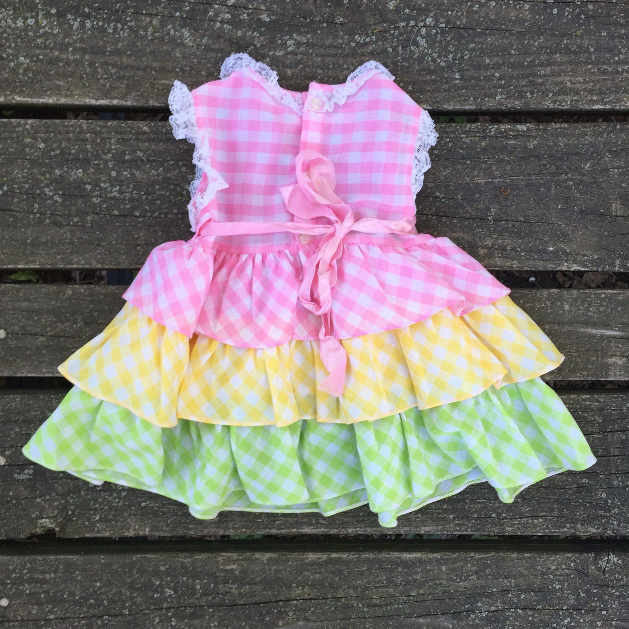 Vintage Size 2 Dress Ruffle Checkered Plaid Nannette Infant Baby